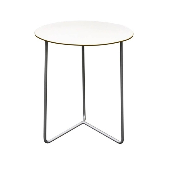 Table HIGH-TECH 60 in white hard laminate with galvanized base - Köpe